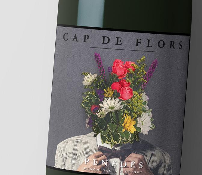 Diseño de etiqueta de vino primer plano Cap de Flors