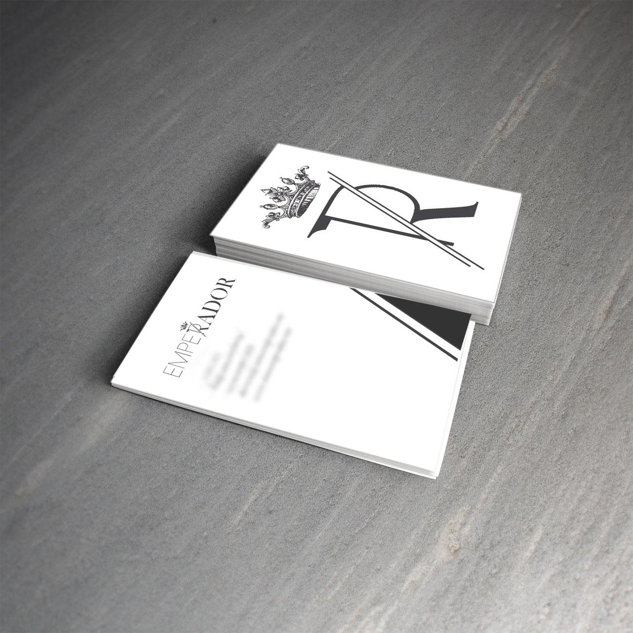 Diseño de marca para vino tarjetas Emperador